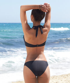 Haut de maillot de bain bandeau armaturé à coques, multipositions noir.
