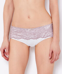 Shorty satin et dos dentelle florale taupe / ecru.