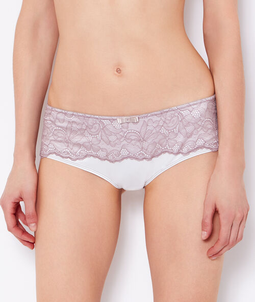 Shorty satin et dos dentelle florale;${refinementColor}
