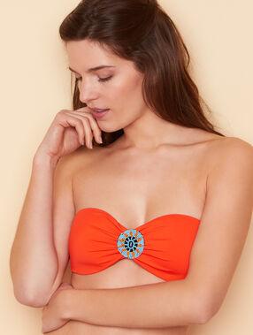 Haut de maillot de bain bandeau façon bustier bijou éthnique orange.