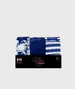 Lot de 3 culottes coton bleu marine.