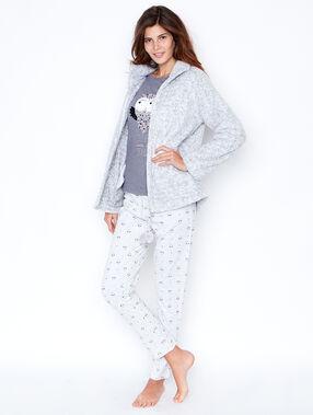 Pyjama 3 pièces, pantalon imprimé et veste toucher polaire rose.