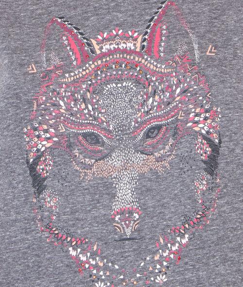 T-shirt imprimé loup;${refinementColor}