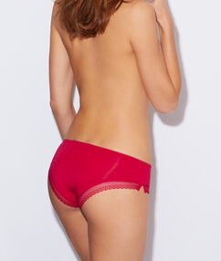 Shorty modal doux, bord dentelle prune.