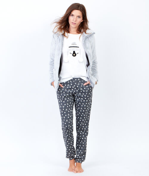 briana pyjama 3 pi ces pantalon imprim et veste toucher polaire etam. Black Bedroom Furniture Sets. Home Design Ideas
