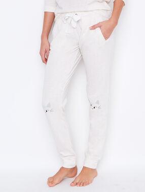 Pantalon uni, imprimé chaton aux genoux beige.