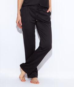 Lejące spodnie z satyny noir.