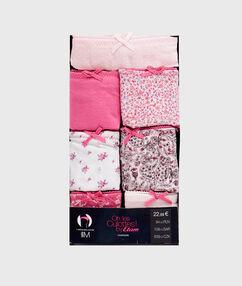 Lote de 7 braguitas brasileñas de algodón rosa.