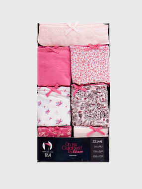 Pack of 7 coton tangas pink.