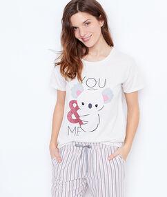 T-shirt imprime ecru.