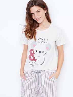 Printed t-shirt ecru.