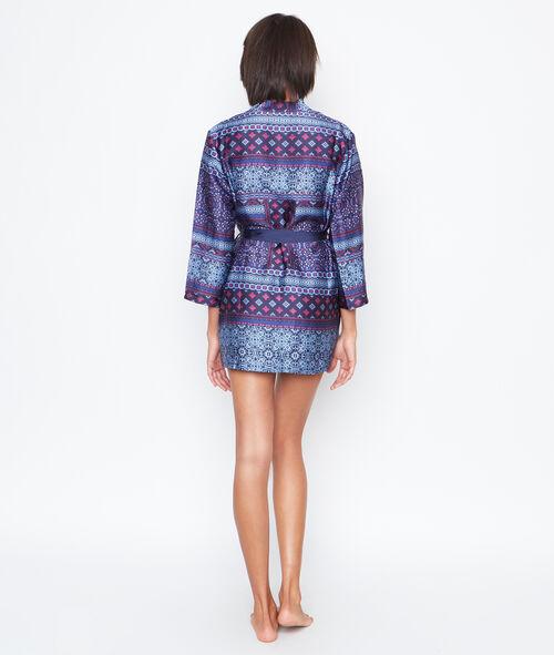 Déshabillé kimono satin imprimé