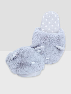3d cat slippers grey.