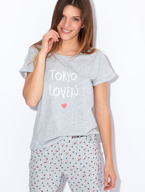 "Top imprimé ""tokyo lovers"" anthracite."