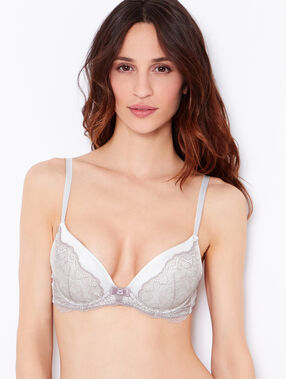 Satin and lace magic up bra white / brown.
