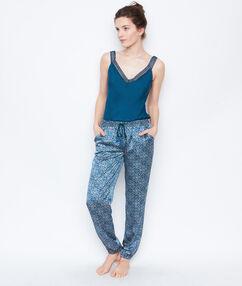 Satynowe spodnie w deseń bleu.