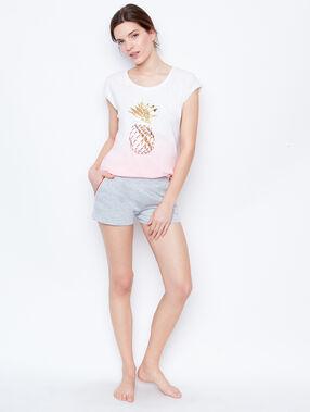 T-shirt imprimé ananas rose.
