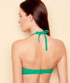 Haut de maillot de bain ampliforme, avec détail noeud vert.