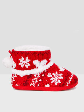 Jacquard slipper boots red.