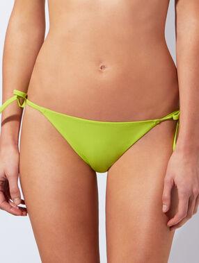Culotte de bikini ficelle vert anis.