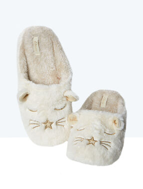 Printed slippers white.