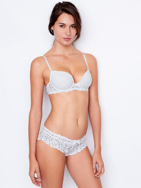 Lace padded demi cup bra, b to e cups white.