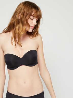 Micro bandeau bra, removable straps, d cup black.