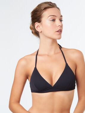 Haut de maillot de bain triangle sans armatures noir.