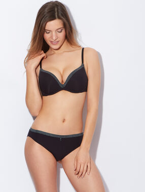 Soft bra : push up sans armatures noir / gris.