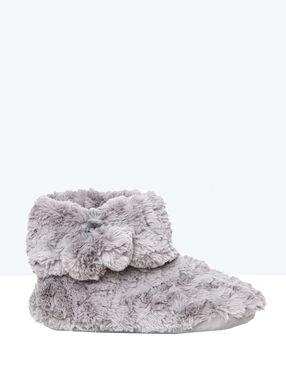 Botines tejido peluche c. gris.