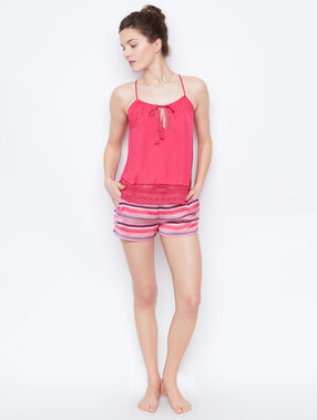 Satine printed short pink.