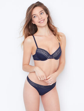 Lace padded demi cup bra blue.