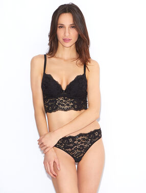 Magic up® plongeant bustier, dentelle texturée florale noir.