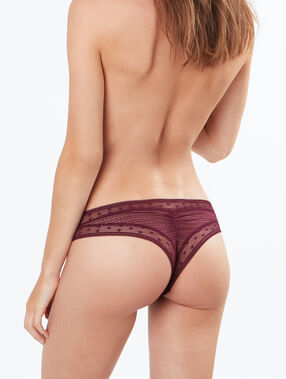 Lace tanga burgundy.