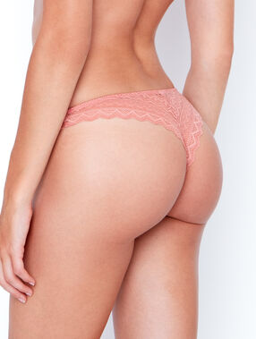 Lace tanga blush.