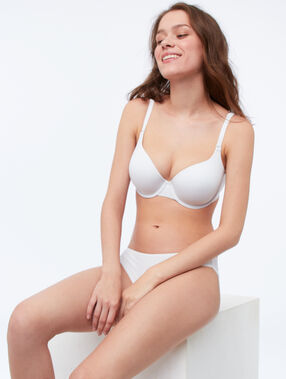 Soutien-gorge ampliforme micro uni bonnet d et e blanc.