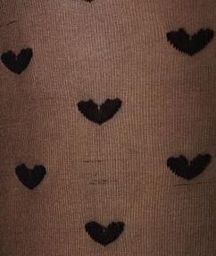 Collants imprimés petits coeur noir.