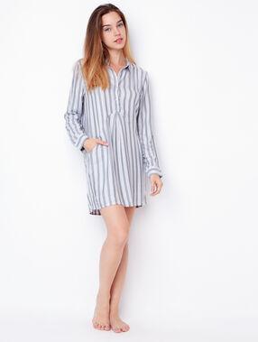 Striped viscose nightdress grey.
