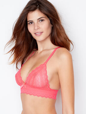 Lace triangle bra pink.