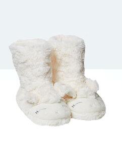 Bottines chaussons imitation fourrure mouton ecru.