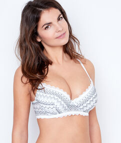 Lace padded demi cup grey.