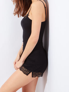 Viscose and lace pyjama tank top black.