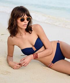 Sujetador bikini sin tirantes motivos étnicos azul marino.