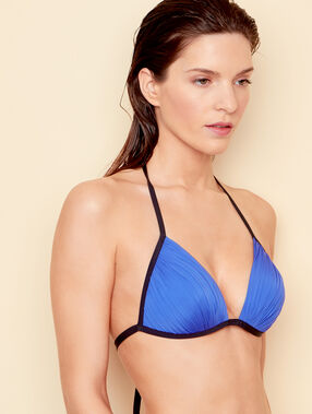 Haut de maillot de bain triangle drapé push up bleu royal.