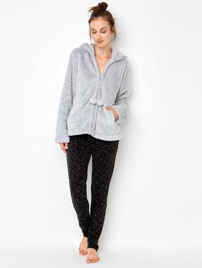 Veste zipée à capuche doudou pailletée gris.