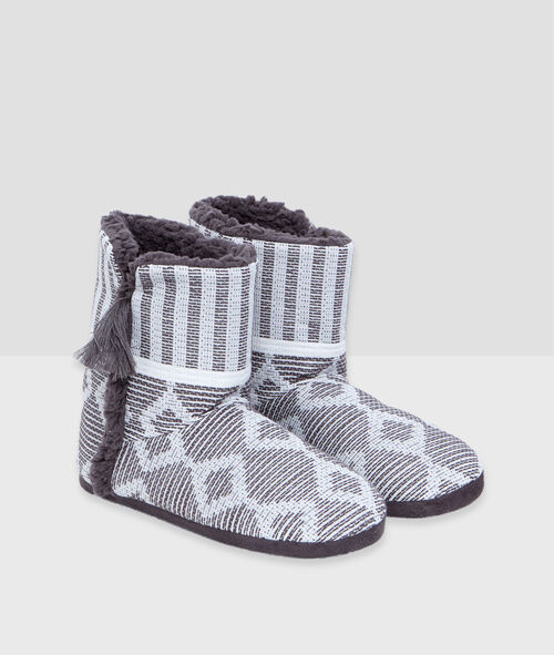 Graphic print slipper boots