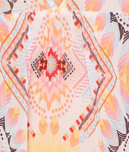 Tunique de plage imprimé multicolore bohème;${refinementColor}