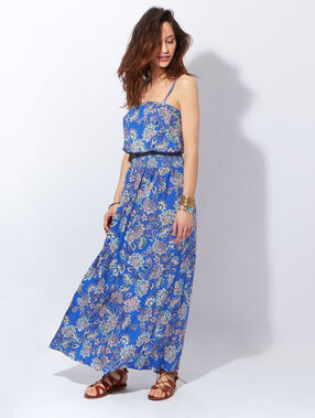 Robe longue imprimée fleurs, bretelles amovibles bleu.