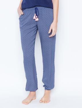 Pantalon fluide imprime bleu.