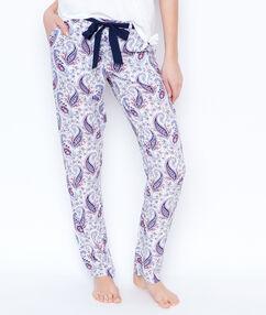 Pantalon imprimé cachemire blanc.